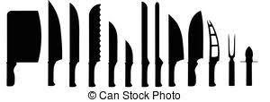 different kinds of kitchen knives clipart vector of different cooks kitchen knives on a white