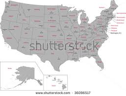 a usa map with states and capitals gray usa map states capital cities stock vector 36096517