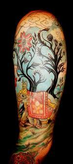 abstract elephant and tree on half sleeve tattooshunt com