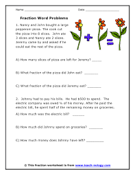 fraction word problems worksheets free worksheets library