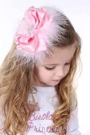 girl hair bows pink princess marabou rhinestone tiara hair bow