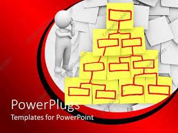 powerpoint template organizational chart diagram on yellow sticky