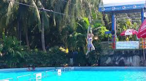zip line into the pool at damsenwaterpark youtube