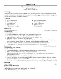 Event Coordinator Resume Template by Event Planning Resume U2013 Inssite