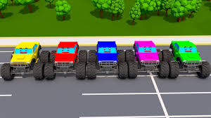 monster truck cartoon videos learn colors and monster truck w 3d cartoon videos in color cars