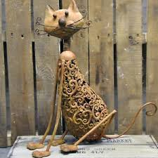 16 inch rustic metal vintage style garden cat ornament inside or