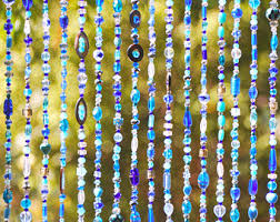 Hippie Beaded Door Curtains Beaded Curtain Bohemian Curtain Window Curtain Beaded Door