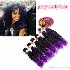 crochet black weave hair high quality synthetic weave hair extensions jerry curly ombre