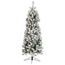 7 5 foot augustine slim flocked pre lit clear artificial tree