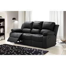 Living Room Reclining Sofas Zoey Black Bonded Leather Living Room Reclining Sofa With Drop