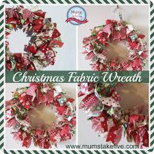 christmas fabric scrap wreath
