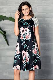pink backdrop a line short sleeve floral print loose t shirt dress