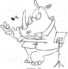 vector of cartoon flautist rhino coloring page outline by