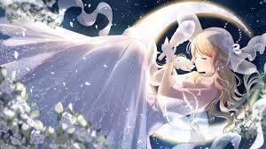 wedding dress anime wallpaper anime girl wedding dress moon closed