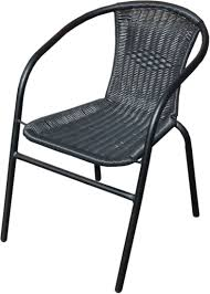 Black Bistro Table Black Outdoor Wicker Rattan Bistro Chair Metal Frame Woven Seat