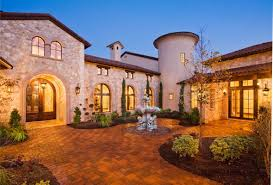 Spanish Mediterranean Homes Entry Courtyard Of Tuscan Style Home Austin Texas Courtyard