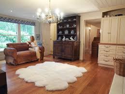 Fau Livingroom Flooring Elegant White Sheepskin Rug On Cozy Dark Pergo Flooring