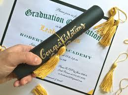 Scroll Invitations Diy Diploma Invitations With Diy Tassels