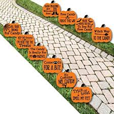 amazon com funny trick or treat pumpkin lawn decoration signs