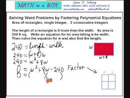 solving word problems by factoring polynomials area of a