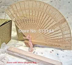 sandalwood fans free shipping 100pcs sandalwood fans w organza bag wedding favors