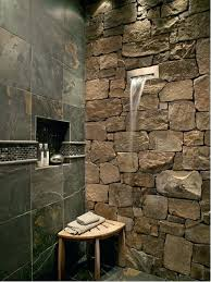 Slate Tile Bathroom Shower Waterfall Showers Mountain Style Slate Tile Bathroom Photo In