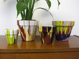 Painting Garden Pots Ideas Drip Painting Clay Pots The Home Depot Community