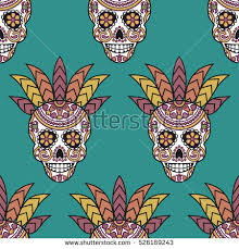 seamless vector pattern mexican skulls day stock vector 371494057