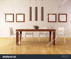 elegant dining room wooden table white stock illustration 74830084 elegant dining room with wooden table and white chair rendering
