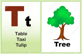 alphabet letter t with clip art and few similar words starting