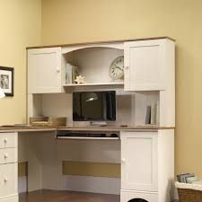 Small Desks With Hutch Sauder Harbor View Hutch In Antiqued White Walmart Com