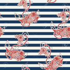 anchor wrapping paper floral anchor on striped background seamless pattern nautical