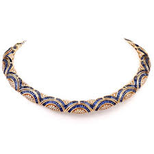vintage jewelry choker necklace images Vintage blue sapphire diamond 18 karat yellow gold choker necklace jpg