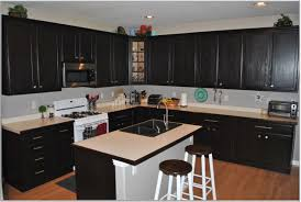 wondrous black kitchen cabinet design idea with cream counter