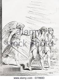 adam and eve expelled from eden after illustration by j james