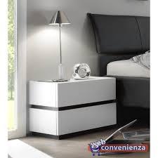 comodini moderni bianchi comodino 2 cassetti bianco opaco grigio scuro