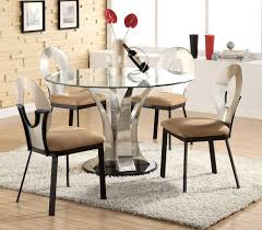 Glass Dinner Table Round Glass Top Kitchen Table And Chairs 10749