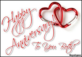 wedding wishes meme happy anniversary to you both linked hearts glitter graphic