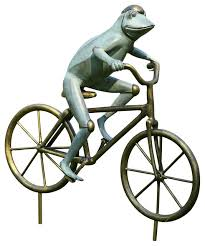 frog on bicycle garden sculpture eclectic garden statues and
