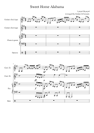 the sweethome sheets sweet home alabama lynyrd skynyrd sheet music for guitar and
