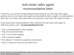 real estate recommendation letter real estate agent