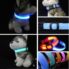 New LED Nylon Pet Dog Collar Night Safety LED Light up Flashing Glow