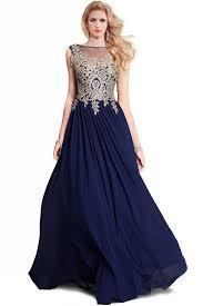 blue dress a line bateau navy blue chiffon gold lace applique prom dress
