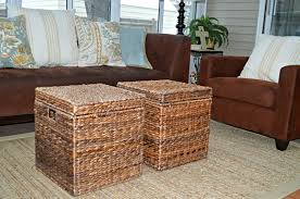 Wingback Wicker Chair Furniture Creative Wicker Ottoman Design For Your Living Room