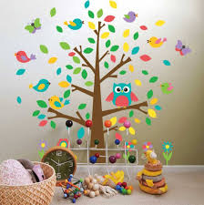 nursery wall sticker tree with owl and birds ohmama for mama s nursery wall sticker