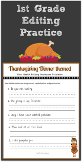 Thanksgiving Worksheets For 3rd Grade Thanksgiving 1st Grade Editing Printable Magnet Writing