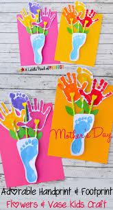Kids Handprint Crafts Handprint And Footprint Flowers And Vase An Adorable Craft For