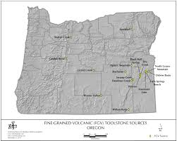 Oregon Volcano Map by Obsidian Source Maps United States