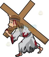 jesus carrying a heavy cross cartoon clipart vector toons