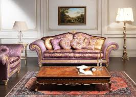 purple sofa classic living room furniture with table and carpet as